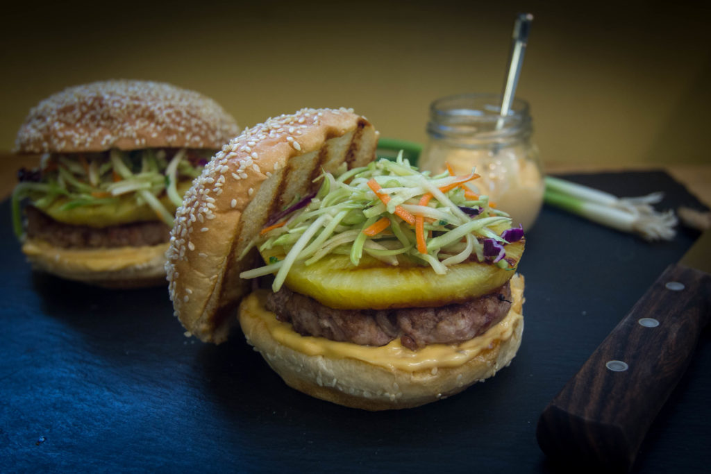 Asian-Style Pork Bacon Burgers